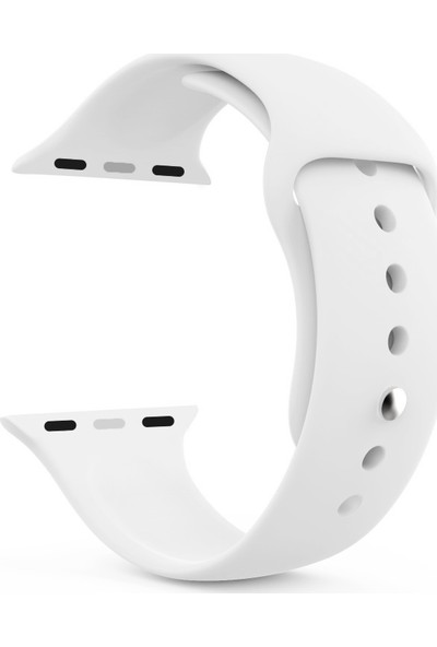 Caseup Apple Watch 4 44 mm Silikon Spor Kordon Beyaz + Nano Cam