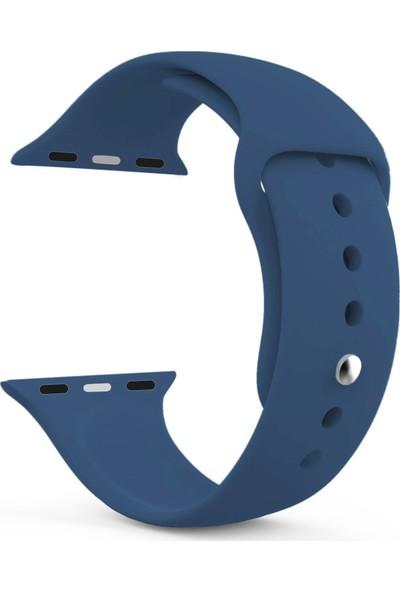 Caseup Apple Watch 4 44 mm Silikon Spor Kordon Lacivert + Nano Cam