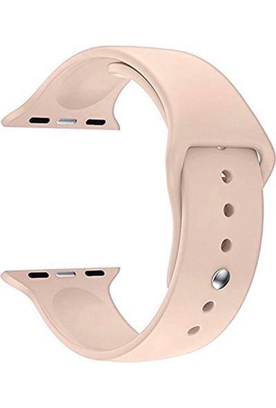 Caseup Apple Watch 4 44 mm Silikon Spor Kordon Rose Gold + Nano Cam