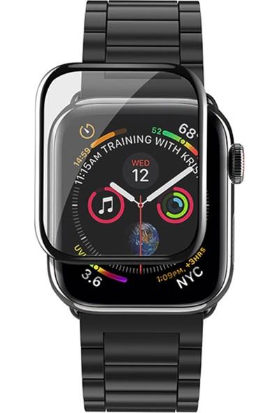 Caseup Apple Watch Series 4 44 mm Kavisli Ekran Koruyucu Siyah