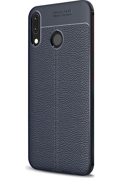 Caseup Asus Zenfone 5Z (6.2'') ZS620KL Kılıf Niss Silikon Lacivert + Nano Cam