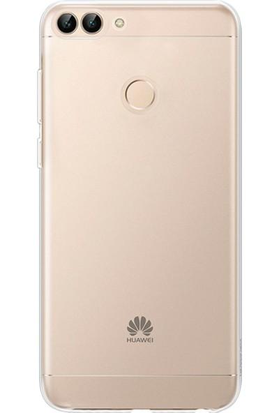 Caseup Huawei P Smart Kılıf İnce Şeffaf Silikon Beyaz + Nano Cam
