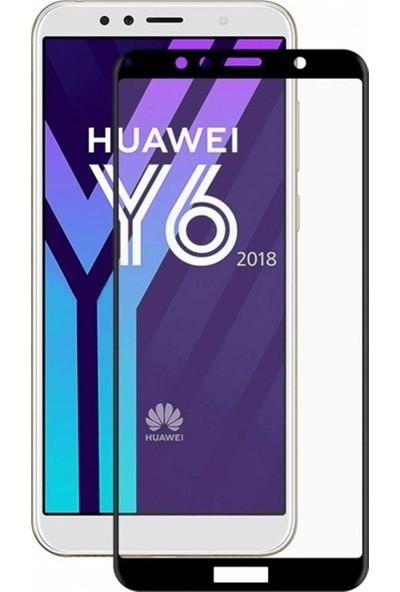 Caseup Huawei Y6 (2018) Kavisli Ekran Koruyucu Siyah