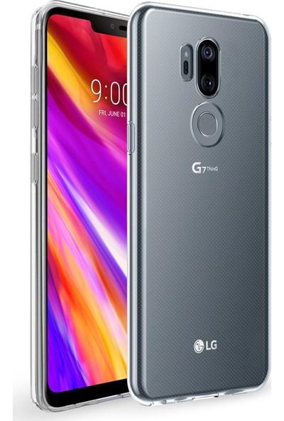 Caseup LG G7 Kılıf İnce Şeffaf Silikon Beyaz + Nano Cam