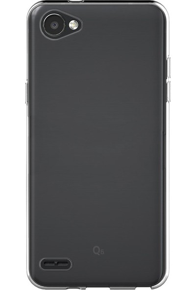 Caseup LG Q6 Kılıf İnce Şeffaf Silikon Beyaz + Nano Cam