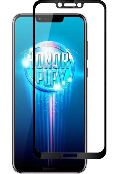 Microsonic Huawei Honor Play Tam Kaplayan Temperli Cam Ekran Koruyucu Siyah