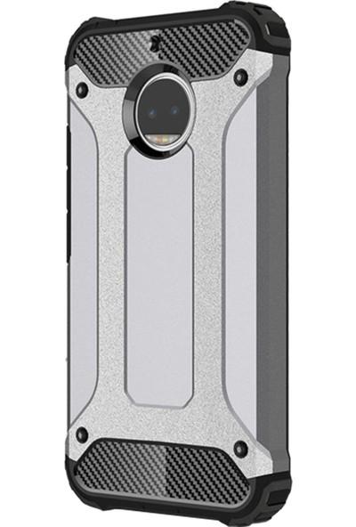 Caseup Motorola Moto G5S Plus Kılıf Tank Gümüş + Nano Cam
