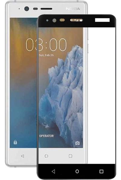 Caseup Nokia 3 Kavisli Ekran Koruyucu Siyah