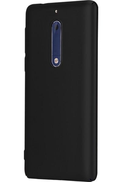 Caseup Nokia 5 Kılıf Rubber Siyah + Nano Cam