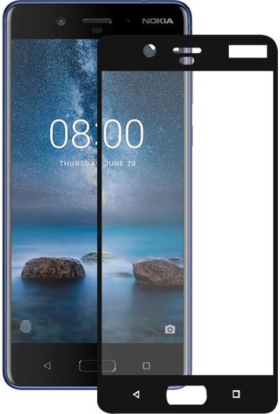 Caseup Nokia 8 Kavisli Ekran Koruyucu Siyah