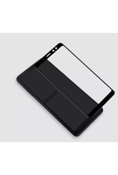 Caseup Samsung Galaxy A8 Plus 2018 Kavisli Ekran Koruyucu Siyah
