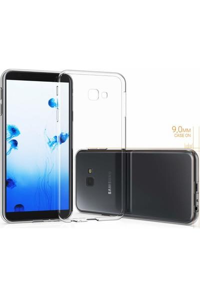 Caseup Samsung Galaxy J4 Core Kılıf İnce Şeffaf Silikon Beyaz + Nano Cam