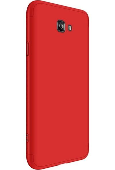 Caseup Samsung Galaxy J7 Prime Kılıf Triple Deluxe Shield Kırmızı + Nano Cam