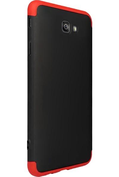 Caseup Samsung Galaxy J7 Prime Kılıf Triple Deluxe Shield Siyah Kırmızı + Nano Cam