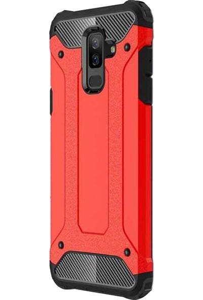 Caseup Samsung Galaxy J8 Kılıf Tank Kırmızı + Nano Cam