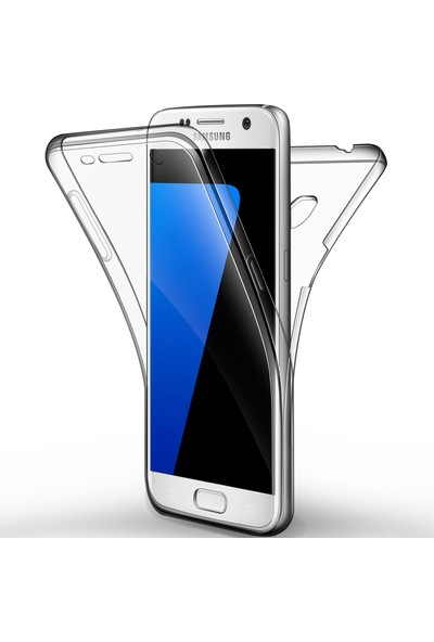 Caseup Samsung Galaxy S7 Kılıf 360 Çift Taraflı Silikon Şeffaf + Nano Cam