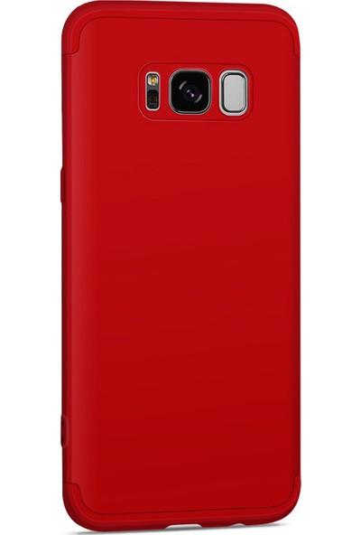 Caseup Samsung Galaxy S8 Kılıf Triple Deluxe Shield Kırmızı + Nano Cam