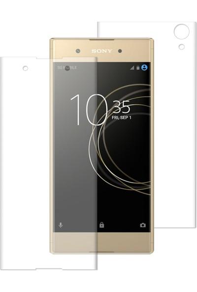Caseup Sony Xperia Xa1 Plus Kavisli Şeffaf Ekran Koruma Seti - Ön Ve Arka