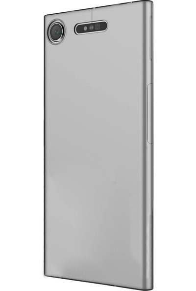 Caseup Sony Xperia Xz1 Kılıf İnce Şeffaf Silikon Beyaz + Nano Cam