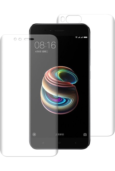 Caseup Xiaomi Mi A1 Kavisli Şeffaf Ekran Koruma Seti - Ön Ve Arka