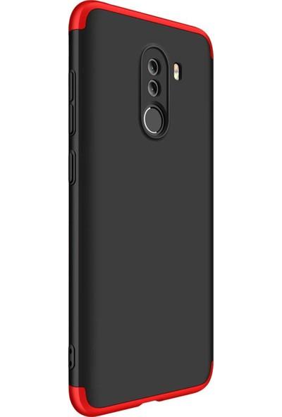 Caseup Xiaomi Pocophone F1 Kılıf Triple Deluxe Shield Siyah Kırmızı + Nano Cam