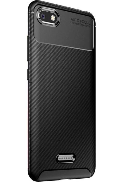 Caseup Xiaomi Redmi 6A Kılıf Fiber Design Siyah + Nano Cam