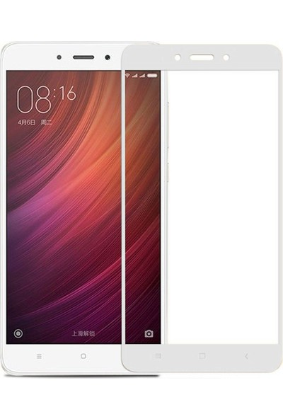 Caseup Xiaomi Redmi Note 4 Kavisli Ekran Koruyucu Beyaz