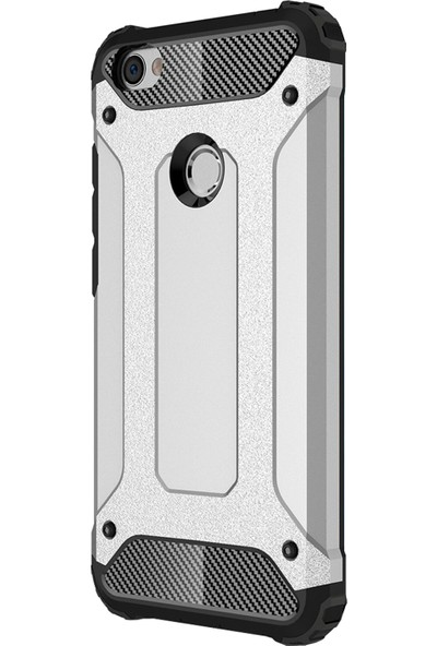Caseup Xiaomi Redmi Note 5A Prime Kılıf Tank Gümüş + Nano Cam