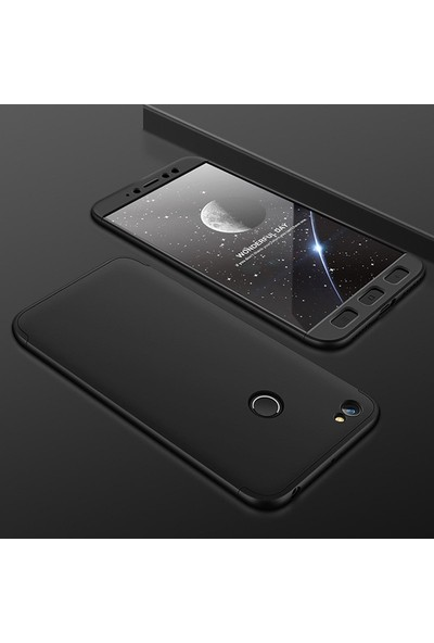 Caseup Xiaomi Redmi Note 5A Prime Kılıf Triple Deluxe Shield Siyah + Nano Cam