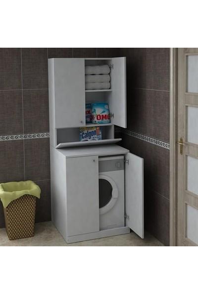 Bmdekor Çamaşır Makinesi Dolabı Poyraz Beyaz
