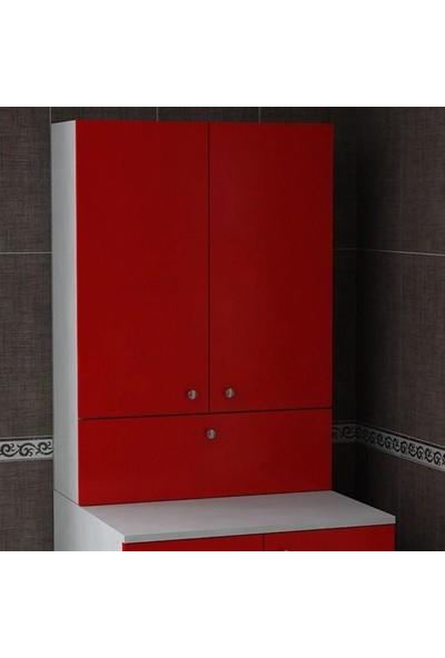 Bmdekor Çamaşır Makinesi Dolabı Poyraz Üst Kırmızı