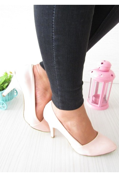 Rosmarin Pudra Rugan Stiletto Kadın Topuklu Ayakkabı