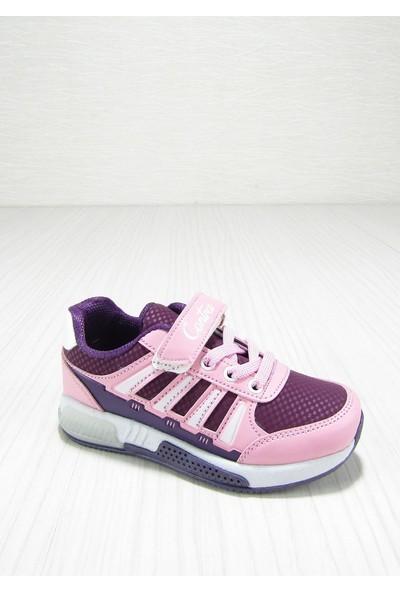 Contra Pembe Cırtlı Bağcıklı Çocuk Spor Ayakkabısı
