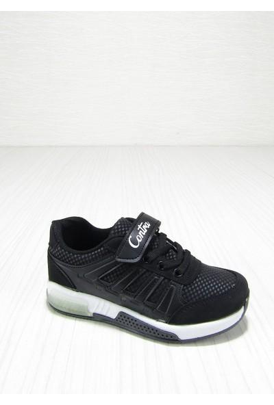 Contra Siyah Nata Cırtlı Bağcıklı Çocuk Spor Ayakkabısı