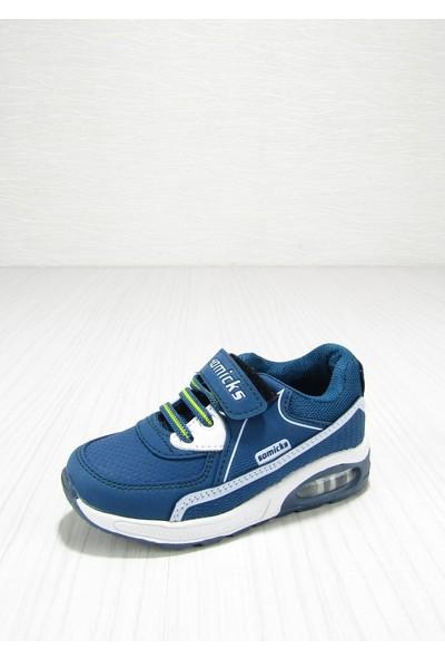 Somicks Petrol Mavisi Cırtlı Bağcıklı Çocuk Spor Ayakkabısı