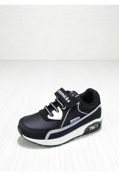 Somicks Siyah Cırtlı Bağcıklı Çocuk Spor Ayakkabısı