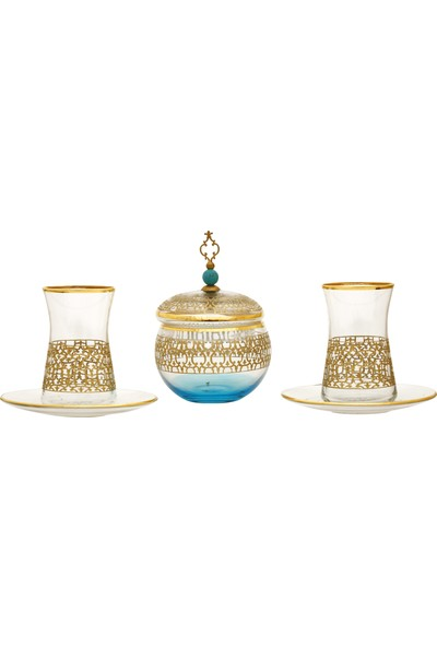 Müzedenal 7 Parça Şekerlikli Çay Takımı Latis-İ Harem Koleksiyonu
