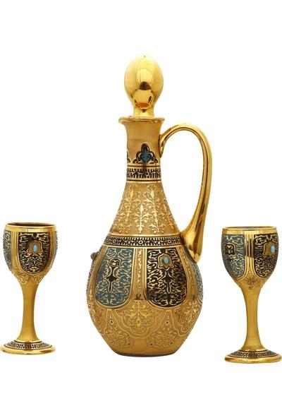 Müzedenal 3 Parça Likör Takımı 1 Şişe 2 Bardak Haseki Sultan Koleksiyonu