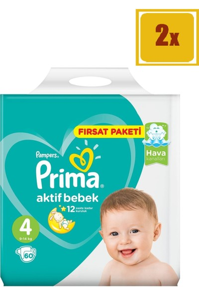 Prima Bebek Bezi Aktif Bebek 4 Beden Maxi Fırsat Paketi 60' Lı 2'Li Set