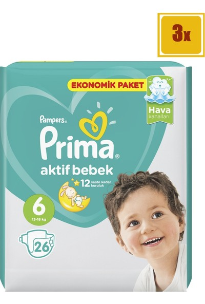 Prima Bebek Bezi Aktif Bebek 6 Beden Ekstra Large Ekonomik Paket 26' lı 3'Lü Set