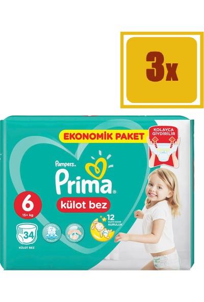 Prima Pants Külot Bez 6 Extra Large Jumbo 34 Adet 15+kg 3'Lü Set