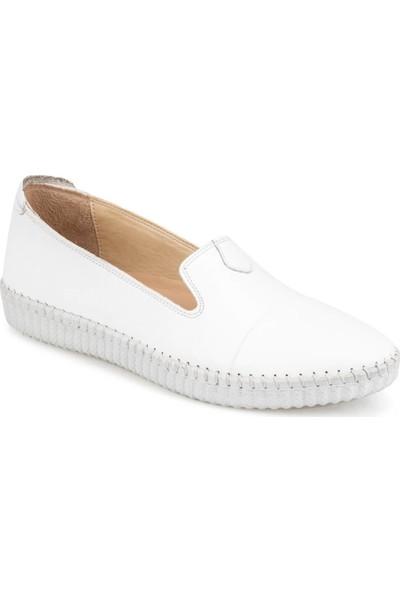 Polaris 5 Nokta 91.111105.Z Beyaz Kadın Deri Loafer