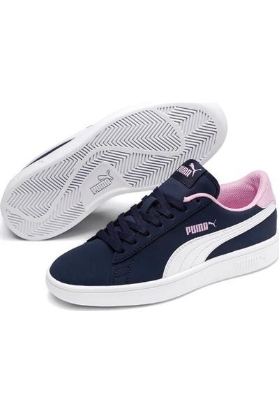 Puma Smash V2 Buck Jr Lacivert Beyaz Kız Çocuk Sneaker Ayakkabı