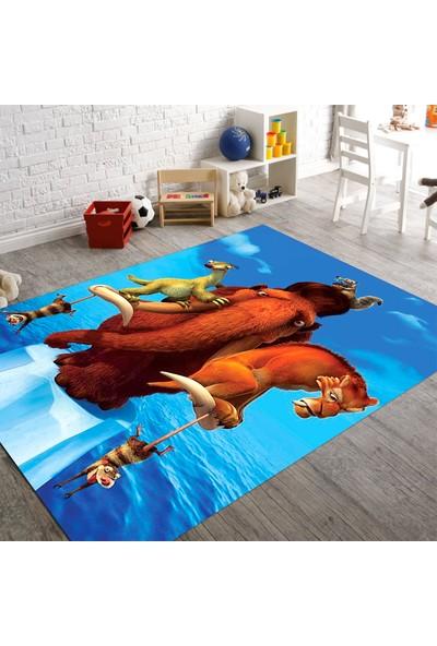 Veronya Buz Devri Desenli Kaymaz Taban Çocuk Halısı 60x100 cm