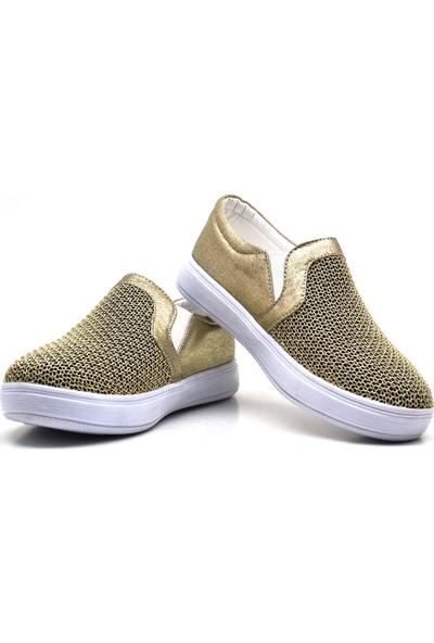 Sarıkaya Yüksek Taban Altın Rengi Kız Çocuk Günlük Ayakkabı