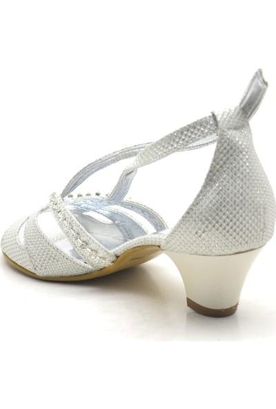 Sarıkaya Sedef Rengi Taşlı Topuklu Kız Çocuk Abiye Ayakkabı