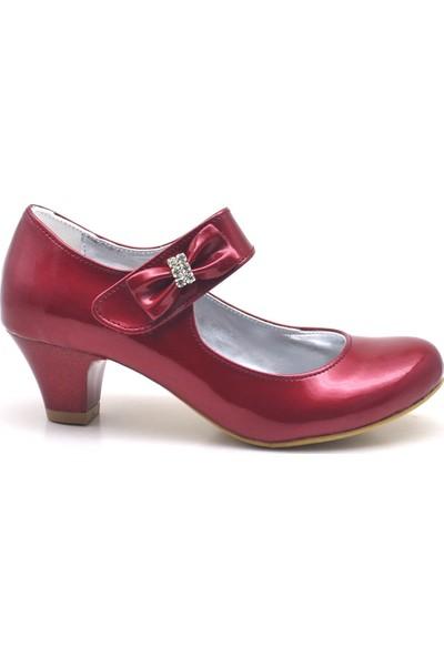 Sarıkaya Bordo Rugan Taşlı Kırmızı Topuklu Kız Çocuk Abiye Ayakkabı