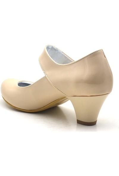 Sarıkaya Rugan Taşlı Ten Rengi Topuklu Kız Çocuk Abiye Ayakkabı