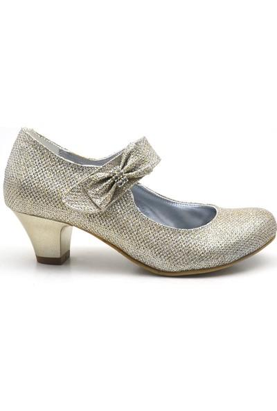 Sarıkaya Taşlı Fiyonklu Altın Topuklu Kız Çocuk Abiye Ayakkabı