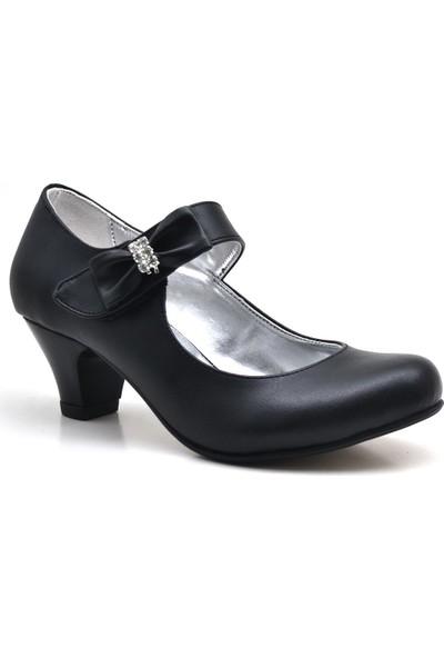 Sarıkaya Fiyonklu Siyah Topuklu Kız Çocuk Abiye Ayakkabı